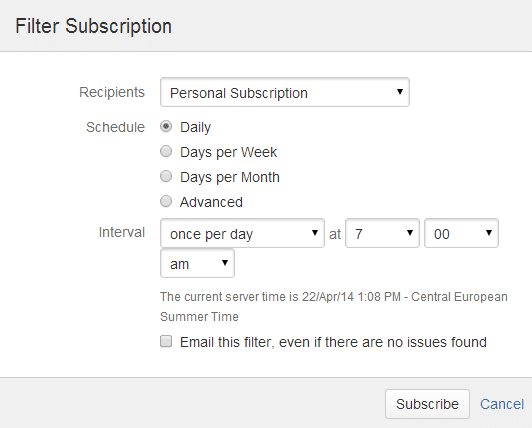 Subscription on a JIRA filter