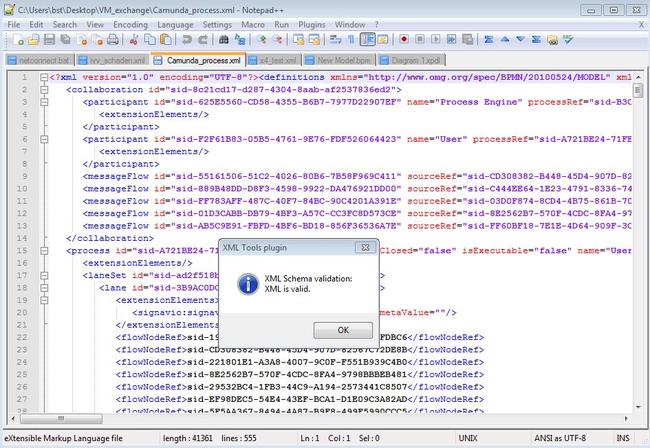 Validierung mit Notepad++