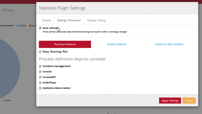In the settings modal you can filter the considered process definition keys