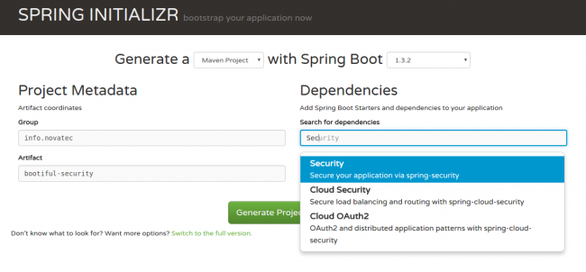 Bootiful Security: Spring Initializr