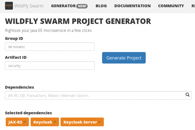 WildFly Swarm project generator