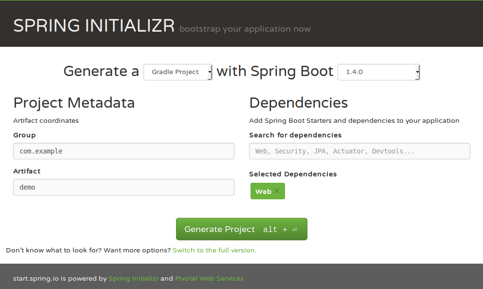 Spring Initializr - Spring Boot 1.4.0, Gradle, Web