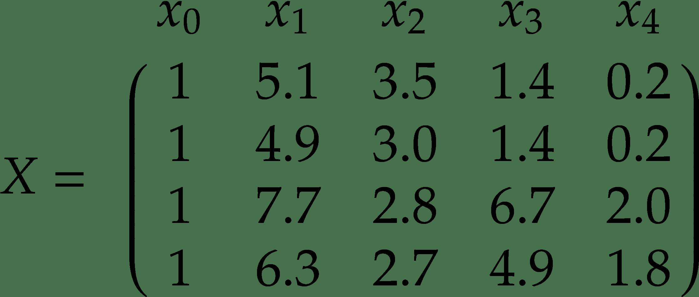 X =\bordermatrix{ &x_0&x_1&x_2&x_3&x_4\cr & 1 & 5.1 & 3.5 & 1.4 & 0.2 \cr & 1 & 4.9 & 3.0 & 1.4 & 0.2 \cr & 1 & 7.7 & 2.8 & 6.7 & 2.0 \cr & 1 & 6.3 & 2.7 & 4.9 & 1.8 \cr }
