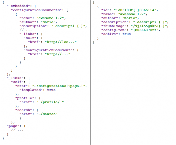 Difference between a Spring Data REST JSON response and RestController JSON response