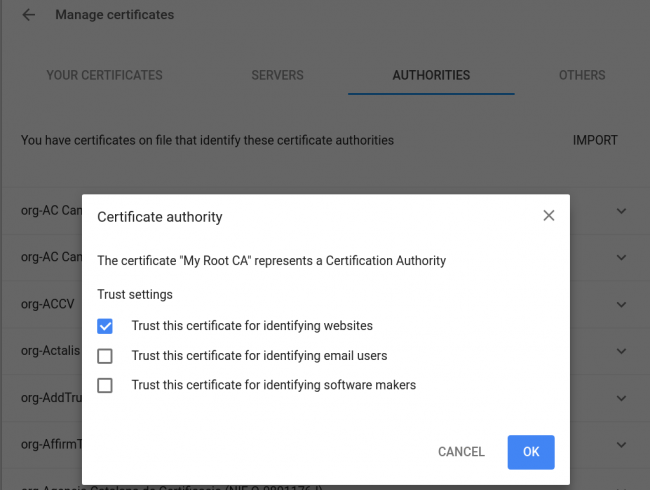 import certificate into chrome